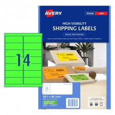 Avery 14up Fluro Green Laser Labels Pk25