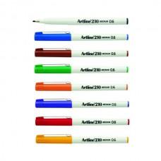 Artline 210 0.6mm Assorted Fineliner Bx 12