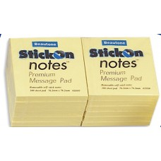 Beautone Stick On Notes 75x75mm Pkt 12