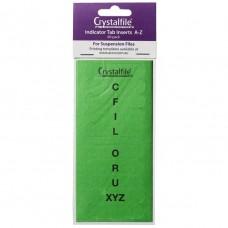 Crystalfile Indicator Tab Inserts A-Z Green Pkt 60
