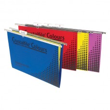 Crystalfile Foolscap Suspion File Assorted Colours Box 25