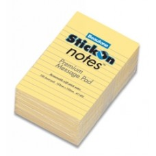 Beautone Stick On Ruled Notes 105x152mm Yellow