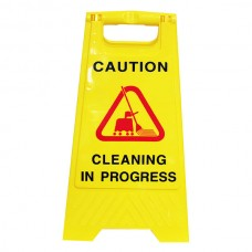 CLean Link Cleaning In Progress Yellow Safety Sign