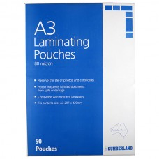 Cumberland A3 Lamination Pouches 80 Micron Box 50