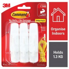 3m Command Hooks Medium Pkt 6