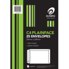 Olympic C4 Plainface Peel N Seal Envelopes Pkt 25