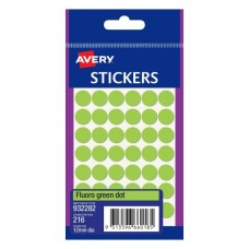 Avery Fluro Green 12mm Circle Labels Pkt 216