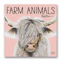 Orange Circle Farm Animals Wall Calendar