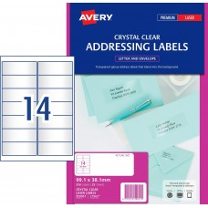 Avery 14up Crystal Clear Address Labels Pkt25