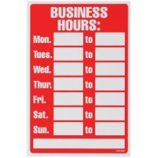 Business Hours Sign 203x305mm Red