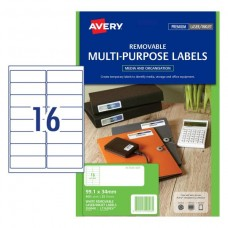 Avery 16up White Laser Removable Labels Pkt25