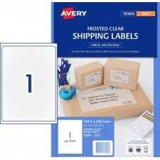 Avery 1up Frosted Clear Shipping Labels Pkt25
