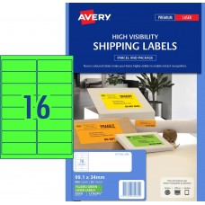 Avery 16up Fluro Green Laser Labels Pkt25
