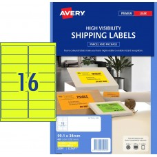 Avery 16up Fluro Yellow Labels Pkt25
