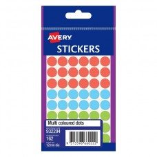 Avery Multi Coloured 12mm Circle Labels Pkt 162