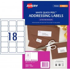 Avery 18up Quick Peel Address Labels Pkt25