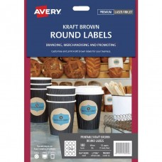 Avery 12up Kraft Round 60mm Labels Pkt 5