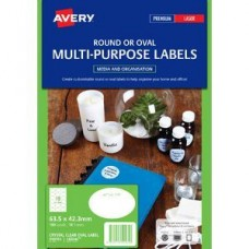 Avery 18up Oval Crystal Clear Labels Pkt10