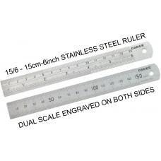 Osmer Stainless Steel 15cm Ruler