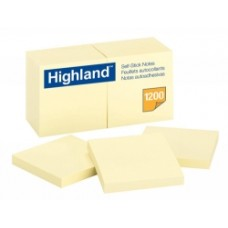 Highland Yellow Stick On Notes 76x76mm Pkt 12