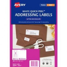 Avery 18up White Quick Peel Inkjet Labels Pkt50
