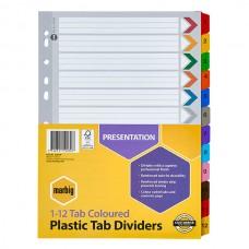 Marbig A4 1-12 Tab Coloured Divider Pkt 10