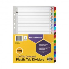 Marbig A4 1-20 Tab Coloured Dividers