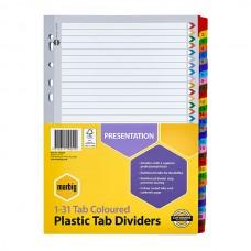 Marbig A4 1-31 Tab Coloured Plastic Tab Divider