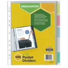 Marbig 5 Tab Clear Pocket Divider