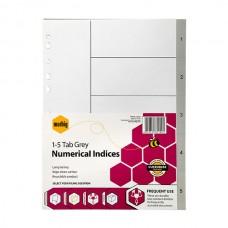 Marbig A4 1-5 Tab Grey PP Dividers
