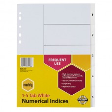 Marbig A4 1-5 Tab PP White Dividers