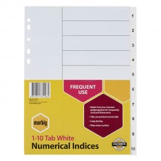 Marbig A4 1-10 Tab PP White Dividers