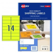 Avery 14up Fluro Yellow Laser Labels Pkt25