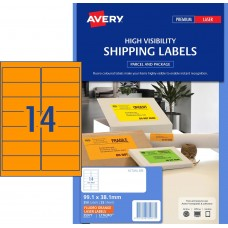Avery 14up Fluro Orange Laser Labels Pk25