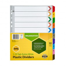 Marbig A4 1-10 Tab White Extra Wide Dividers
