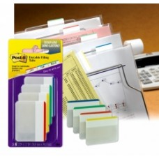 Post It Durable Filing Tabs with Colour Boarder Pkt 4