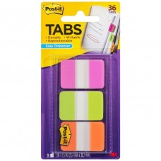 Post It Durable Tabs 25mm Pink/Green/Orange 3 Pack