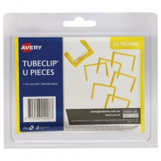 Avery Tube Clip U Piece Only Yellow Pkt 25