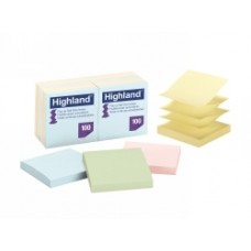 Highland Pop-up 76x76mm Pastel Notes Pkt 12