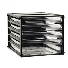 Esselte A4 Black Document Cabinet 4 Drawer