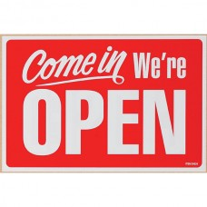 Headline Come in Open Sign 200 x 300mm Red