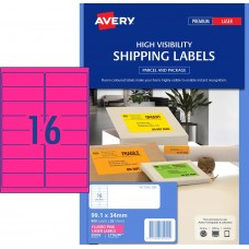 Avery 16up Fluro Pink Shipping Labels Pkt25