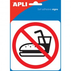 Apli Self Adhesive No Eating Or Drinking Sign