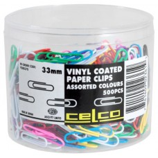 Celco 33mm Coloured Paper Clips Tub 500