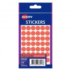 Avery Fluro Red 12mm Circle Labels Pkt 216