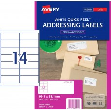 Avery 14up Removable White Labels Pkt25
