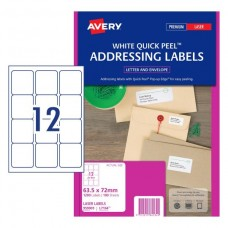 Avery 12up Quick Peel White Address Labels Bx100
