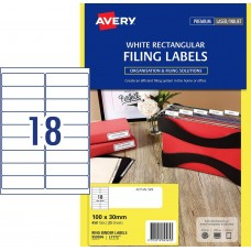 Avery 18up White Laser Rectangle Labels Pkt 25