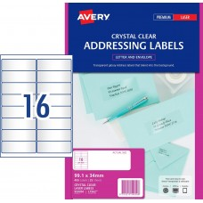 Avery 16up Crystal Clear Address Labels Pkt25