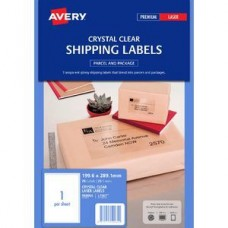 Avery 1up Crystal Clear Laser Labels Pkt25